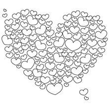 Dibujo para colorear : 1000 corazones