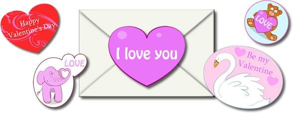 Pegatinas de Amor para tarjetas