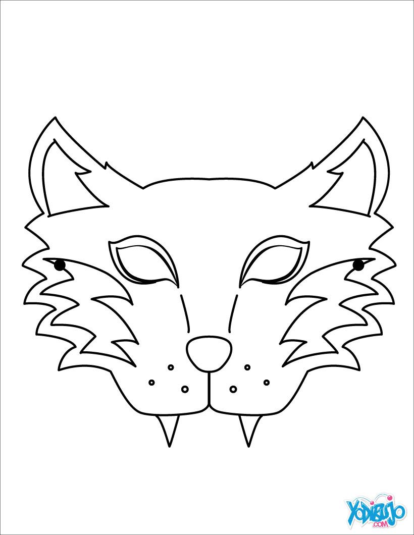 Dibujos de MASCARAS para colorear - Máscara Tigre