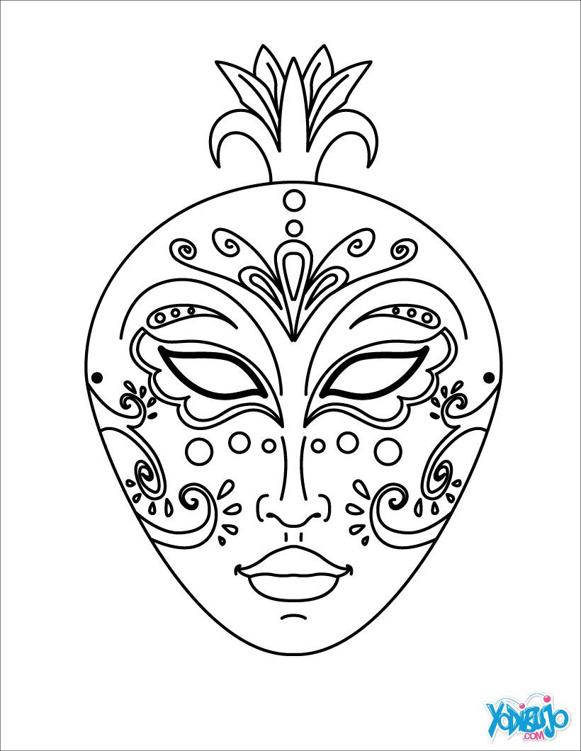 Dibujos para colorear antifaz con arabescos - es.hellokids.com