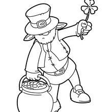 Dibujo para colorear : Leprechaun y Olla de Oro
