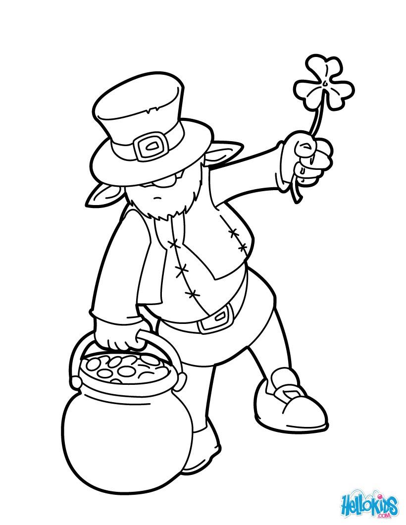 Dibujos para colorear leprechaun y olla de oro - es.hellokids.com