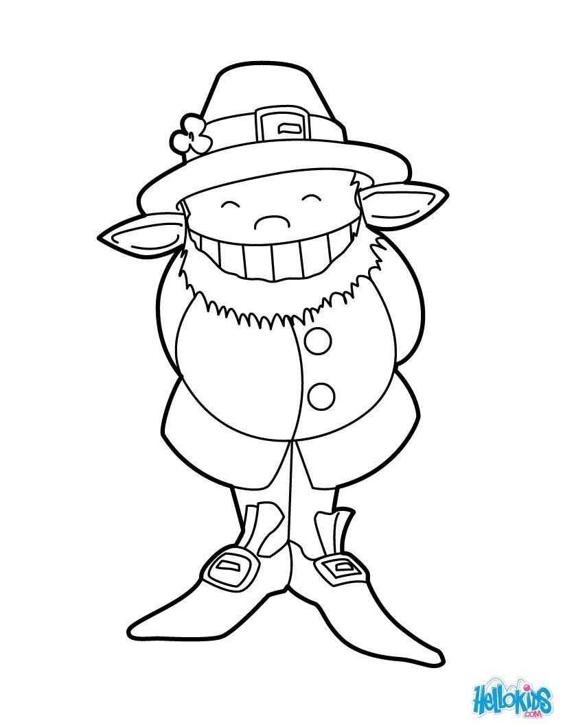 Dibujo para colorear : Pequeño Leprechaun