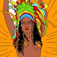 disfraz para Carnaval, Dibujos del CARNAVAL DE RIO para colorear