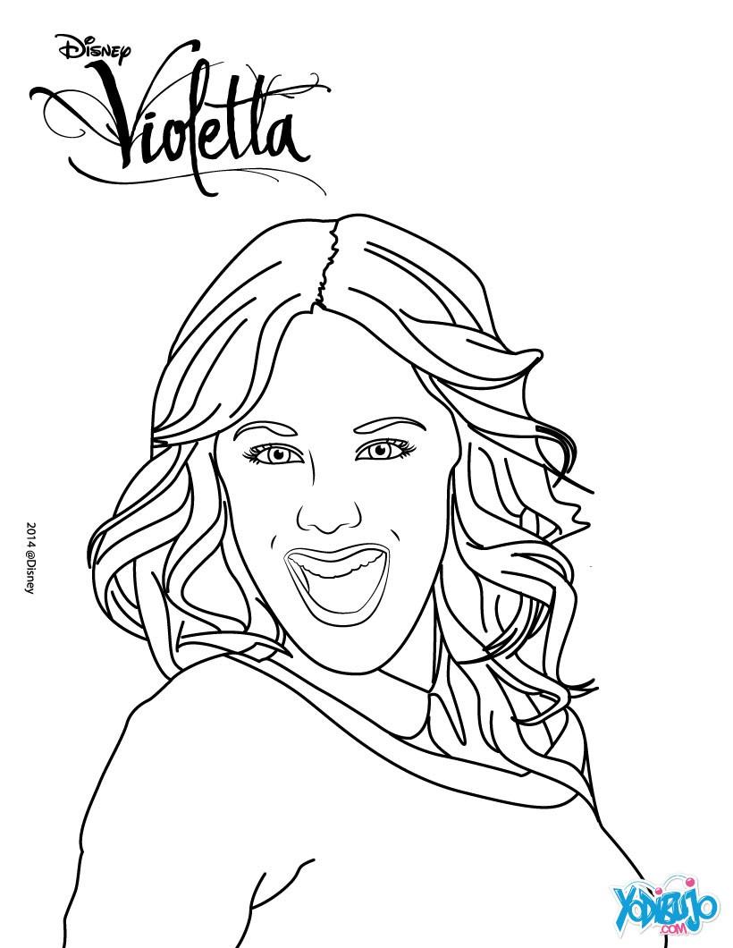 Dibujos para colorear violetta sonriendo  eshellokidscom