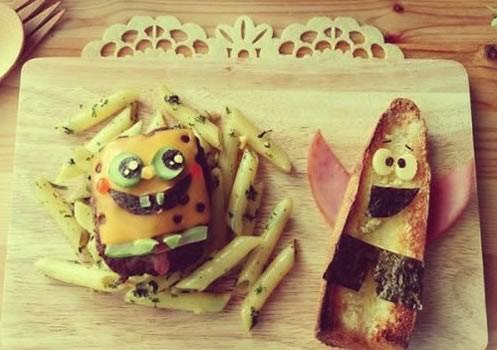 Cocinar con niños : Hamburguesa BOB ESPONJA con patatas fritas