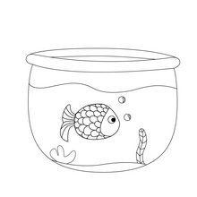 Dibujo para colorear : Pez en su pecesera