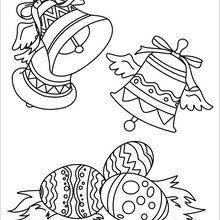Dibujo para colorear : Campanas Decoradas y Huevos