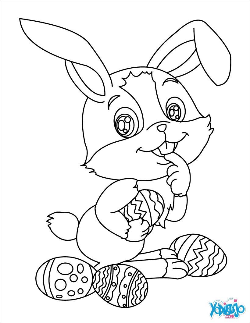 Dibujos para colorear conejito come chocolate - es.hellokids.com