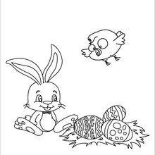 Dibujo para colorear : Conejo, Huevos y Pollito