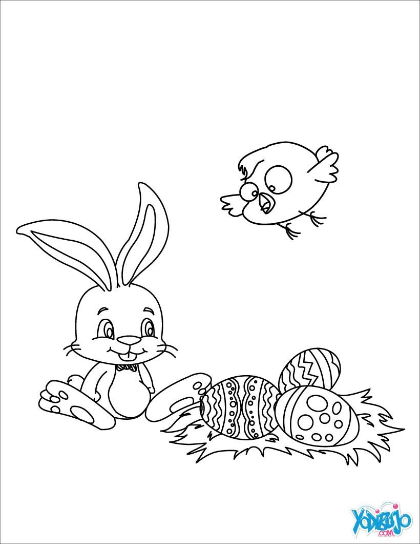 Dibujos para colorear conejo, huevos y pollito - es.hellokids.com