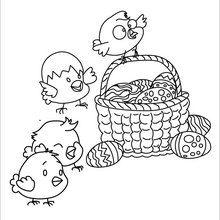 Dibujo para colorear : Cáscaras de Huevos y Pollitos
