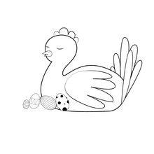 Dibujo para colorear : Gallina orgullosa para Pascua