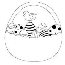 Dibujo para colorear : Huevos y Pollitos de Pascua