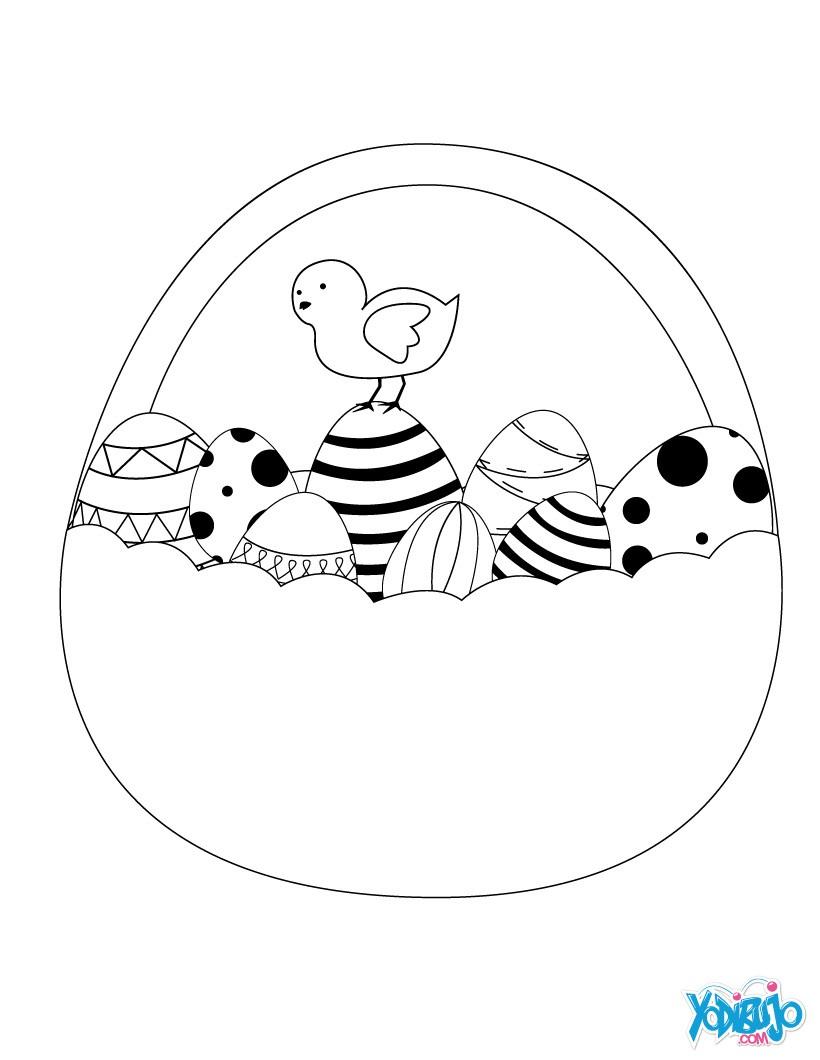 Dibujos para colorear huevos y pollitos de pascua - es.hellokids.com
