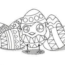 Dibujo para colorear : Huevos y Pollito