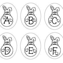 Dibujo para colorear : Letras del abecedario conejo A B C D E F