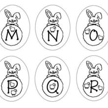 Dibujo para colorear : Letras del abecedario conejo M N O P Q R