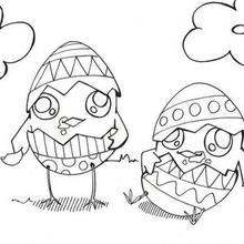 Dibujo para colorear : Pollitos de Pascua