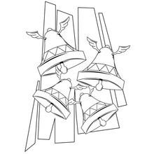 Dibujo para colorear : Campanas con Alas