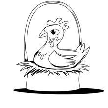 Dibujo para colorear : Gallina de los Huevos de Oro