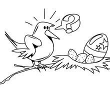 Dibujo para colorear : Nido con Huevo pintado