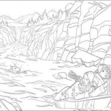 Peter, Lucy y Susan en el agua