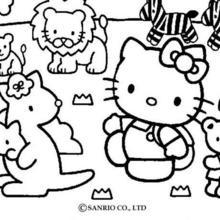 Dibujo para colorear : La gatita y los animales