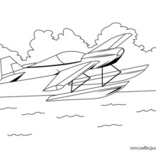 Dibujo para colorear : un avión hidroplano