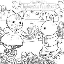Dibujo para colorear : Caza de conejos y huevos de chocolate