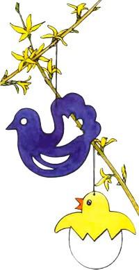 Manualidad infantil : Rama de primavera decorada