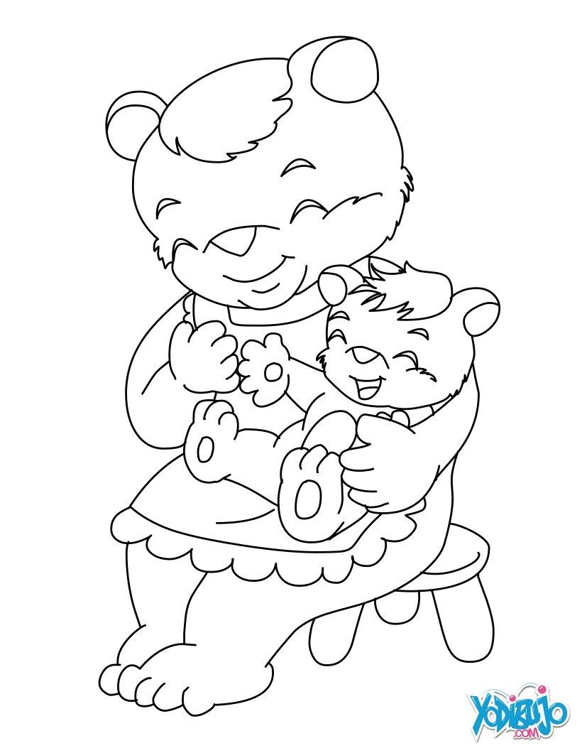 Dibujos para colorear mamá oso y su bebé - es.hellokids.com