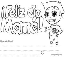 Dibujo para colorear : Mensaje para Mamá