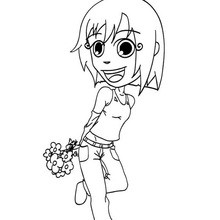 Dibujo para colorear : Hija feliz con flores