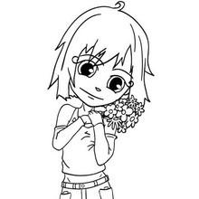 Dibujo para colorear : Flores para Mamá (niña)