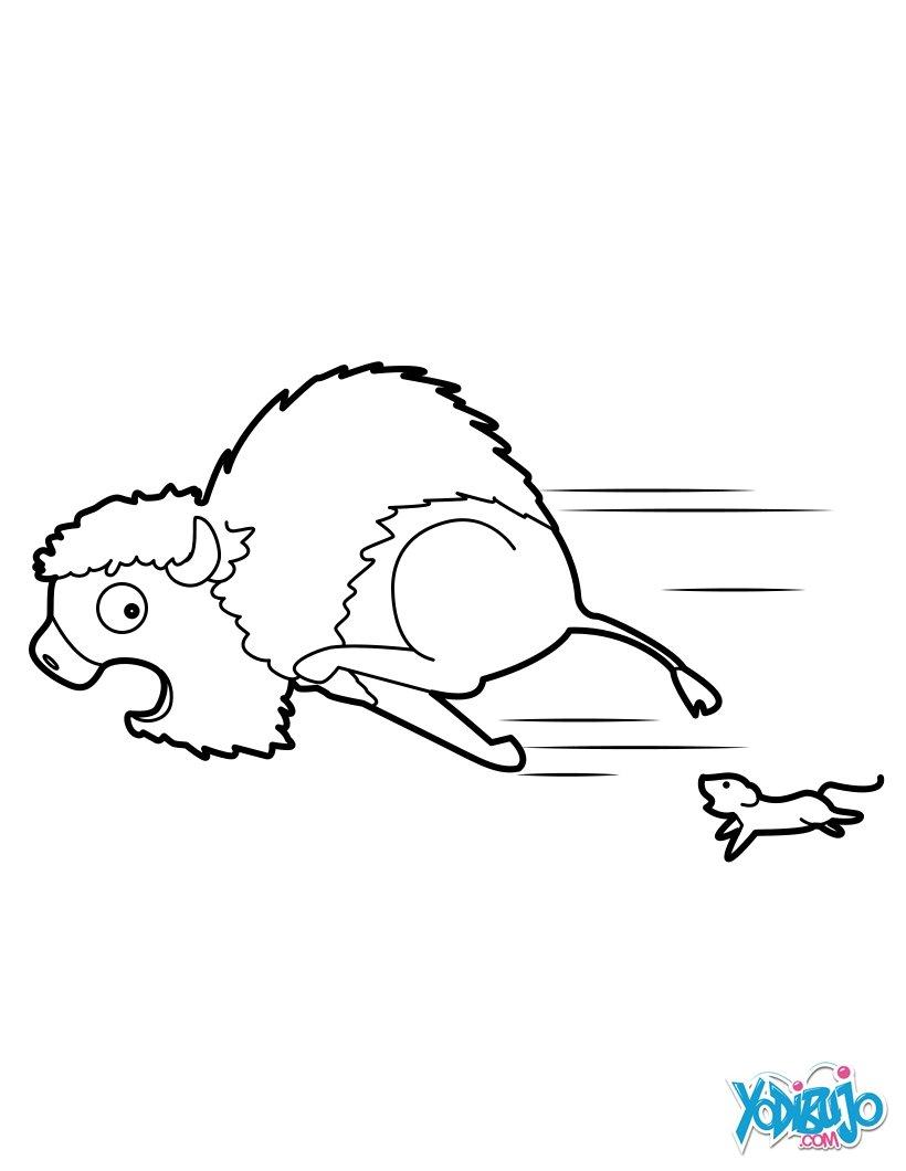 Dibujos para colorear bisonte temeroso - es.hellokids.com