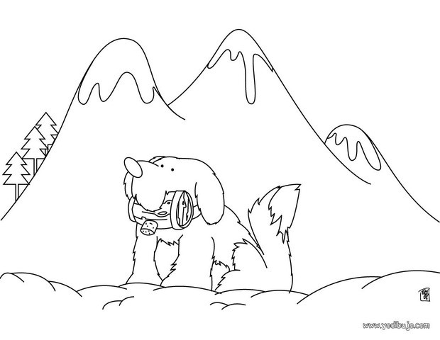 Dibujos para colorear un perro san bernardo - es.hellokids.com