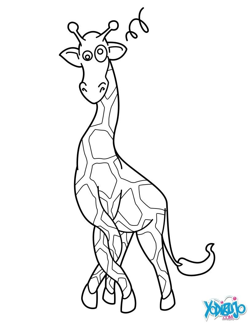Dibujos para colorear jirafas en un árbol - es.hellokids.com