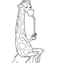 Dibujo para colorear : Jirafa que bebe un coctel