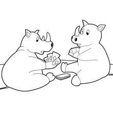 Dibujo para colorear : Dos rinocerontes jugando a las cartas