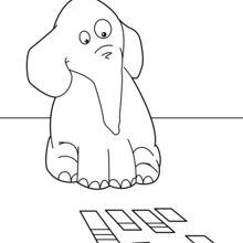 Dibujo para colorear : Elefante jugando a las cartas