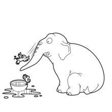 Dibujo para colorear : Elefante que juega con las aves