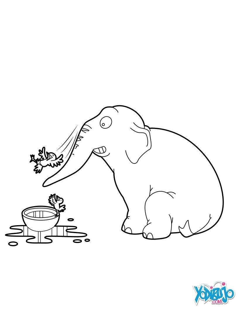 Dibujos para colorear elefante que juega con las aves  es
