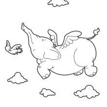 Dibujo para colorear : Elephant volador