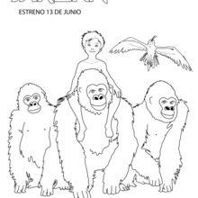 Dibujo para colorear : Niño Tarzán con su familia
