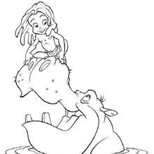 Dibujo para colorear : Niño Tarzán y el Hipopotamo