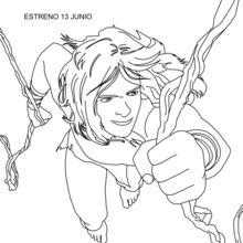 Dibujo para colorear : Tarzán en las lianas