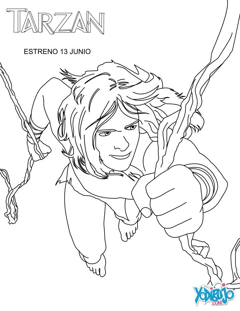 Dibujos para colorear tarzán en las lianas - es.hellokids.com