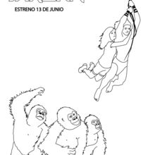 Dibujo para colorear : Tarzán y Jane con los gorilas