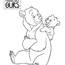 Dibujo para colorear : Hermano Oso: Kenaï y Koda